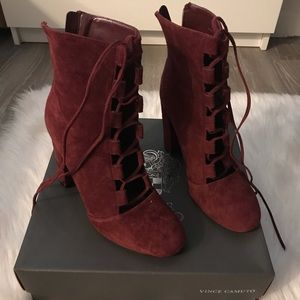 Vince Camuto Karen Bordeaux Suede Lace Up Bootie